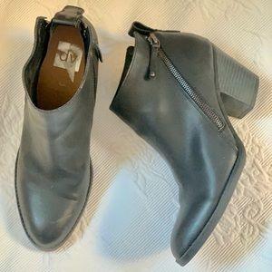 DV Black Booties Double Zipper Vegan Leather